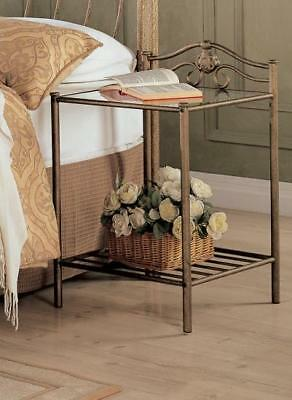 Sydney Transitional Antique Gold Iron Nightstand with Shelf by Coaster 300172