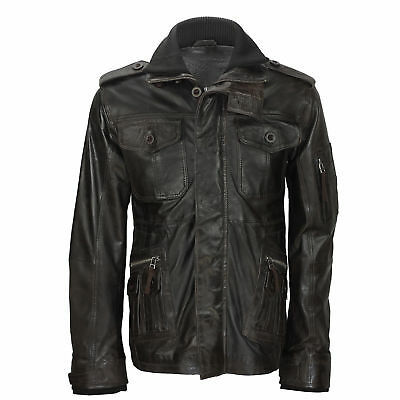 Men Brown Soft Real Leather Vintage Field Jacket Retro Smart Military Style Coat