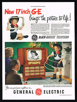 1951 GE General Electric 17 Inch TV Television Cute Cowgirl Photo Vintage Ad