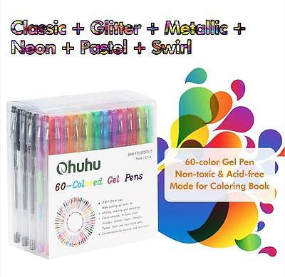 60 Gel Pen Color Set Glitter Metallic Neon Pastel Art Adult Coloring Book Supply