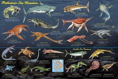 PREHISTORIC SEA MONSTERS EDUCATIONAL (LAMINATED) POSTER Dinosaur Chart NEW Art