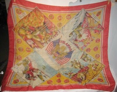 Spectacular WWII Military Ladies Silk Scarf w/ Soldiers Tanks & Airplane Drops