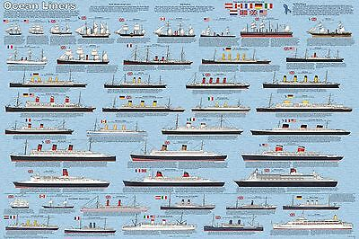 OCEAN LINERS - SHIPS & BOATS POSTER (61x91cm) EDUCATIONAL WALL CHART NEW