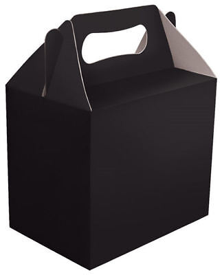 6 Black Party Boxes - Food Loot Lunch Cardboard Gift Wedding/Kids Childrens