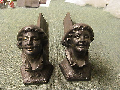 Vintage Pair French Fire Dogs/Andirons Cast iron Inglenook