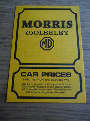 MORRIS & WOLSELEY & MG PRICE LIST BROCHURE 1972 / 73  jm