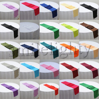 """12"""" x 108"""" Satin Table Runner Wedding Decorations Wedding Party 21 Colors"""