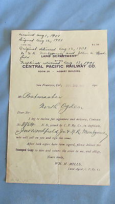 Central Pacific Railway Company Land Department Document-1901-Ogden Utah