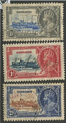 Barbados #186-188 Used Silver Jubilee Short Set Vf