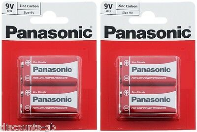 x4 Panasonic 9V Zinc Carbon Batteries - PP3 (MN1604 / 6F22 / 6LR61) 2 Packs of 2