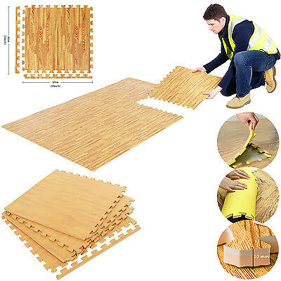 Soft 64 SQ FT Wood Effect Interlocking Eva Foam Floor 16 Mat Gym Garage Exercise