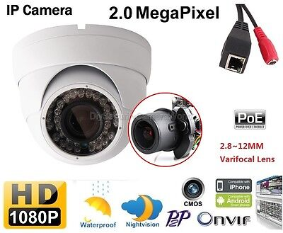 IPC MOTORIZED ZOOM LENs 2 0MP 1080P CCTV IP Dome camera 2 8-12mm LENS 42IR  LED