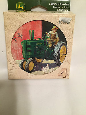 John Deere Tractor Coasters Absorbent Stoneware Set 4 Round