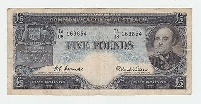Five Pounds Pound Paper Banknote Commonwealth of Australia Coombs Wilson E-280