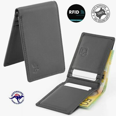 RFID Genuine Men's Soft Cowhide Leather Small Bi-fold Wallet Black Slim