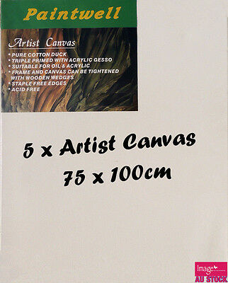 5x Blank Artist Stretched Canvas 75X100cm Heavy Duty 38mm Thick-SCS-3040B