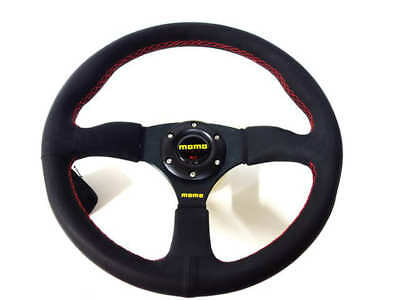 """350mm Sport Rally 2"""" Deep Dish Black Leather Red Stitch Car Steering Wheel"""