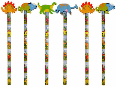 6 Dinosaur Pencils & Erasers - Pinata Rubbers Loot/Party Bag Fillers Wedding/Kid