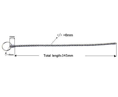 Stainless steel Male Beads SOUNDING 345mm Length Urethral Stretching A166-1