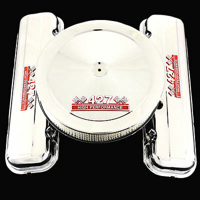 Chrome Short Valve Covers and Air Cleaner Combo For Chevy 427 Engines