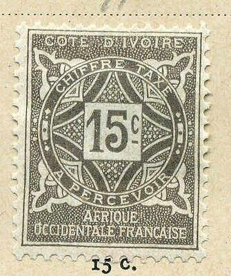 FRENCH COLONIES IVORY COAST;  1912 Postage Due issue Mint hinged 15c. value