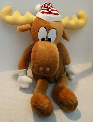"Macy's 1996 Plush Bullwinkle 24"" Brown Moose Antlers Christmas Stuffed Animal"