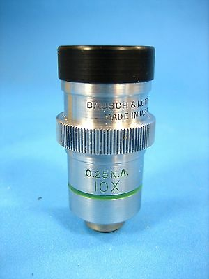 Bausch and Lomb 10x 0.25 NA Field 0.18 Covered  Microscope Objective
