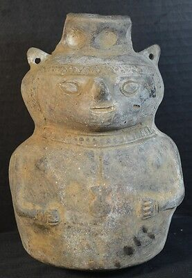 Antique Pre-Columbian Pottery Vase of a Human Figure