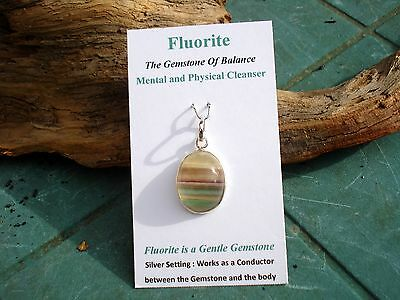 Purple-Green-Gold Flourite Rainbow Oval Pendant-Lovely Energy!