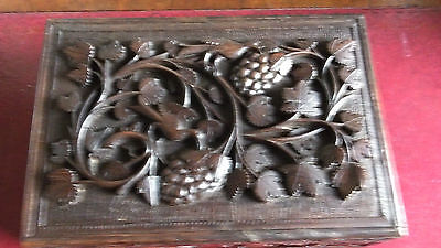 Large 19th Century Carved Indian Box by J. Sumwad
