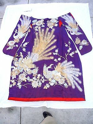 Vintage Japanese  Uchikake Wedding Kimono Embroidered Flamingos