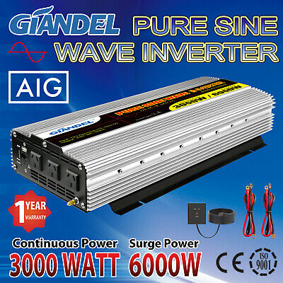 GIANDEL Pure Sine Wave Power Inverter 3000W/6000W 12V to 240V Remote Control