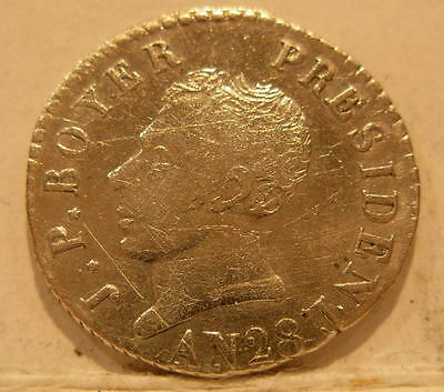 Haiti 1831 (AN28) Silver 25 Centimes XF+ with some scratches