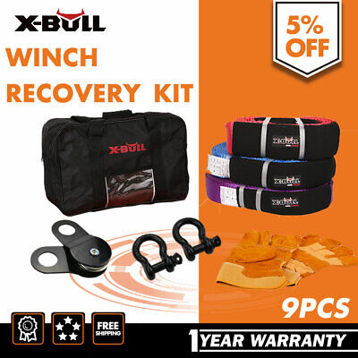 X-BULL Winch Recovery Kit Snatch Straps Bow Shackles Pulley Block Shovel 4x4 4WD