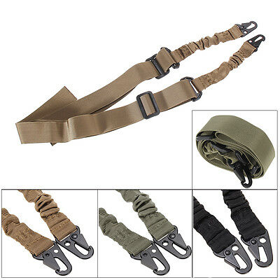 Adjustable Tactical Two 2 Dual Point Bungee Rifle Gun Sling System Strap Belt