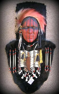 "32"" X 17"" Native American Creek Indian Shawnee Medicine Man Mask by La Ne Ayo"