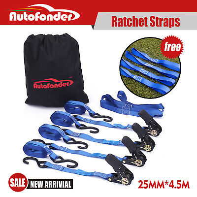 Ratchet Strap Tie Down Strap 400kg 25mm x 4.5m For Ute or Trailer 4 Pack