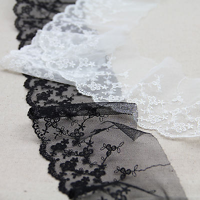 1 Yard Scalloped Daisy Embroidered Floral Net Lace Trim Tulle For DIY Craft