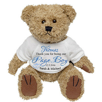 Personalised Teddy Bear for Ringbearer Wedding Favour Pageboy Present Gift