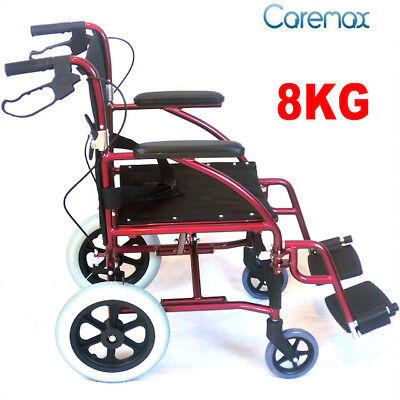 Ca978 Caremax Transport Wheelchair  Transit wheel Chair Silver folding back
