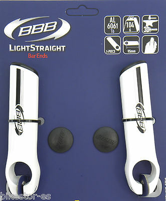 1 par BBB Cuernos Acoples Manillar Blanco 95mm 104g Aluminio  Bike BAR ENDS