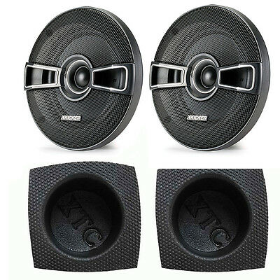 "Kicker KSC5 KS-Series 5.25"" Coaxial 2-Way Speaker Package with Round Baffle Pair"
