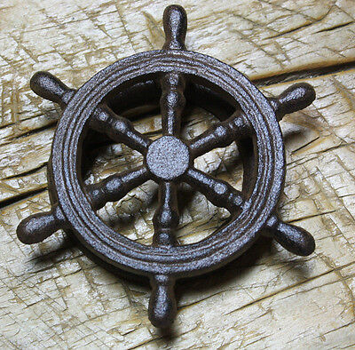 Cast Iron Antique Style SHIPS WHEEL Door Knocker NAUTICAL PIRATE Brown Finish