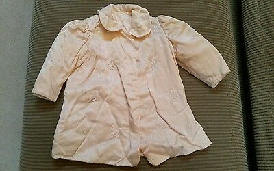Handmade Antique Light Peach Silk  Baby Coat W/Embroidery