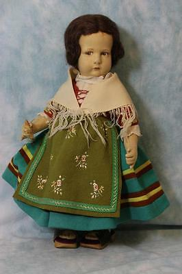 "Rare Antique 17"" Lenci Doll 1930s Milano Lombardia 300 Series Original Costume!"