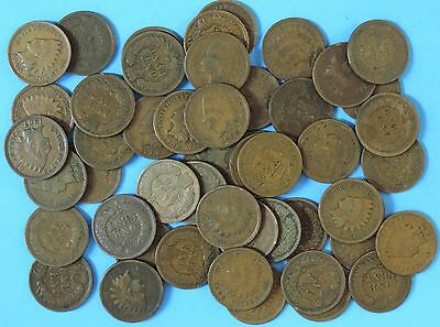 Antique Roll of 50 Indian Head Cents Pennies 50 old Coins