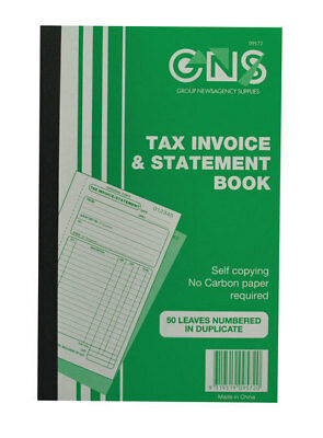 "GNS 9572 Tax Invoice & Statement Book 8"" x 5"" Duplicate Carbononless - 5 Pack"