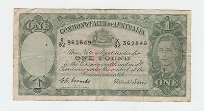 One Pound Paper Banknote Commonwealth of Australia Coombs Wilson E-358