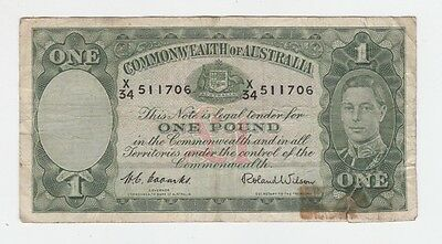 One Pound Paper Banknote Commonwealth of Australia Coombs Wilson E-363