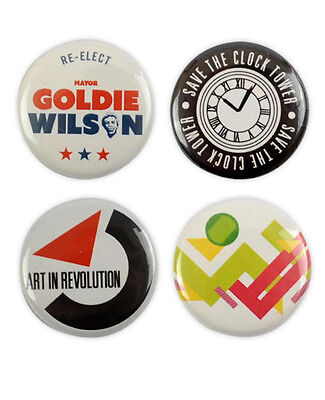 Back To The Future Badge Set! Michael J Fox 1980s Marty McFly Doc Brown